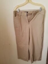 Jones New York Stretch Womens Tan Cuffed Capri Dress Pants Size 12