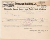 U.S. Building Illustrated 1901 Dempster Mill Manfg. Co. Paid Invoice Ref 40292