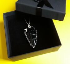Game of Thrones Black Obsidian 925Silver Pendant Necklace Arrowhead Dragonglass