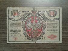 Banknote Polen Poland 10 Marek 1917 gebraucht aus Sammlung
