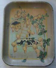 Original Antique Kewpie Tray  Picking Black Raspberries Signed O'nell