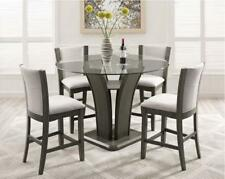 Grey Round Glass Top Counter Height Table Set 5 Pcs Crown Mark 1710GY-5P Camelia