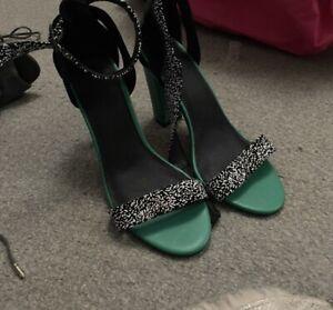 Black, White And Green Block Chunky Heels Portmans Size UK 6/ Eu 39
