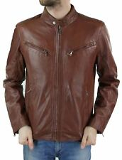 Mens Zip Real Leather Biker Jacket Smart Casual Black Tan Brown Tailored Vintage