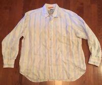 Tommy Bahama Relax Men's XL 100% Linen Long Sleeve Blue Orange Striped Shirt