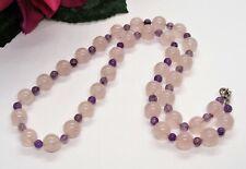 Wonderful! Silvertone Amethyst & Rose Quartz Round Beads Necklace!