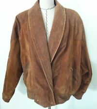 Vintage 80's leather jacket coat faux snakeskin brown suede double breast size M