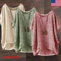 Plus Size Womens Summer Casual Solid Blouses Loose Baggy Tops Tunic T Shirts