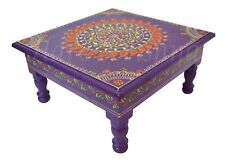 Wooden Pooja Chowki Bajot Painted Side Low End Table Furniture (Purple) 11x5.5""