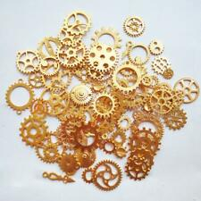 10 Clock Gears Cogs Parts Gold Metal Steampunk Supplies Assorted Lot