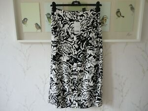 Womens Midi Skirt by Next Elasticated Waist Black White Floral Size 8 10 12 BNWT