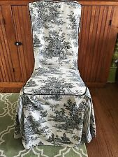 Waverly Garden Room FRENCH COUNTRY LIFE TOILE Chair Slip Cover