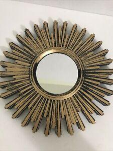 "Accent Hanging Mirror Sunburst Gold/Black Plastic Frame Wall Decor 9.75"""