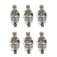 3pcs Jewelry Making Alloy Hollow 3D Skull Silver Locket Pendant Chamrs Crafts