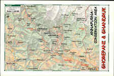 NEPAL Postkarte Postcard Annapurna Area Landkarte Map Ghorepani & Ghandruk color