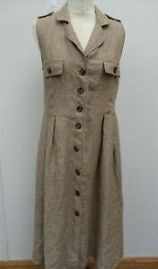 Mango 100% Linen Brown Midi Shirt Button Up Sleeveless Dress  Size M (UK 10-12)