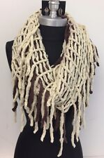 Women FASHION Fringe Knit 2-Circle Cable Cowl Infinity Scarf Brown/Cream