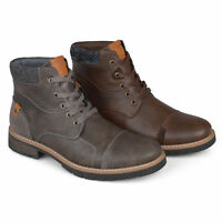 Daxx Mens Marcus Lace up Faux Leather Boots New