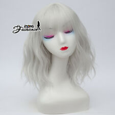 Silver White Lolita Bangs Curly Women Fashion Party Cosplay Synthetic Hair Wig