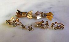 Vintage Lot Of FOUR PAIR of Earrings Signed Crystal Rhinestone Austria