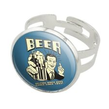 Beer Helping White Guys Dance Silver Plated Adjustable Novelty Ring