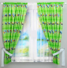 2pc BABY BEDROOM CURTAINS CHILDREN ROOM BLUE OR GREEN CARS BOY panels cotton