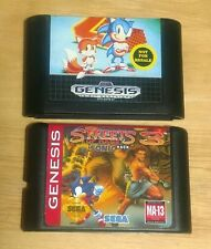 Sega Genesis, Sonic The Hedgehog 2 & Sonic Streets Of Rage 3 video game LOT