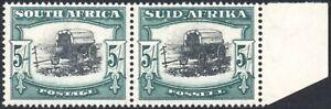 South Africa 1933-48 5s black & blue-green, BROKEN YOKE-PIN VARIETY, SG.64ba VFM