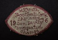 "VINTAGE 1976 UNDEFEATED YOUTH FOOTBALL CHAMPS MAROON AND GRAY PATCH 6"" X 3 1/2"""