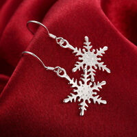 925 Sterling Silver Filled Cute Snow Snowflake Dangle Earrings Free Shipping