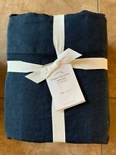 POTTERY BARN Belgian Flax Linen KING Sheets 4 Piece Set NEW - MIDNIGHT/Navy Blue