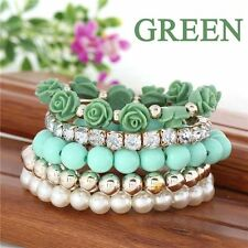 Women Rhinestone Alloy Stretch Bracelet Fashion Temperament Mix Flower Beads