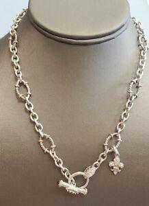 "Judith Ripka .925 Silver Fleur De Lis Enhancer & Oval Link Necklace 18"""