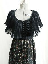 60s Alfred Shaheen Floral Sheer Dress Black Long Hostess Dress Gown Hand Painted