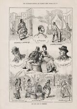 OLD ANTIQUE 1879 PRINT CARTOON SKETCHES THE FINE ARTS OF YORKSHIRE  b118