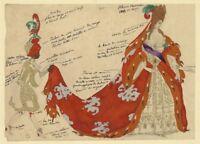 The Sleeping Princess Courtier Costume design LEON BAKST Vintage Ballet Poster