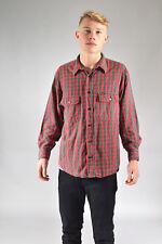VINTAGE WRANGLER Verde& Rojo de cuadros camisa de franela (M)