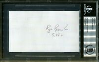 Roger Bannister 3:59.4 Mile Signed Index Card Autograph BAS Beckett COA *47