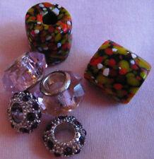6 Vintage venetian Glass Beads 2 African trade millefiori-2 Ruby crystal stud si
