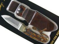 Schrade Uncle Henry Staglon Mini Pro Hunter Straight Fixed Blade Knife + Sheath