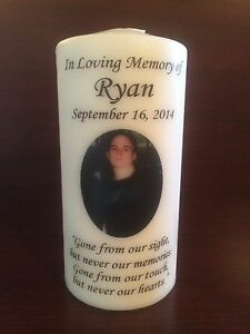 """6"""" Memorial Photo Candle, Wedding Candle, Funeral Candle, Tribute Candle, Unity"""
