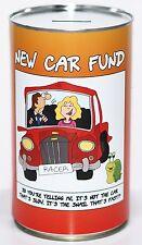 New Car Fund Savings Tin - Large 17.5cm Money Box, Money Tin, Save for a New Car