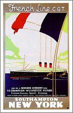 1920s France French Line New York Ocean Liner Travel Advertisement Poster Print