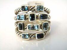 David Yurman S6.25 Confetti Wide Ring - Hampton Blue Topaz/Blue Topaz/Silver NWT