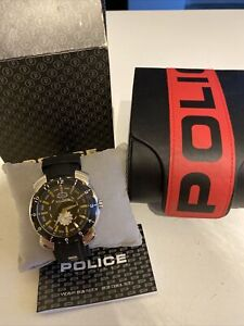 Police Black Silver Watch Wrist With Box Leaflets Working 10972J Water Resistant