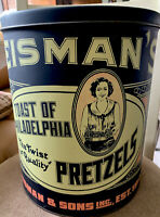 Vintage J Reisman Sons Reisman's Pretzels Philadelphia PA Large Tin Can ❤️