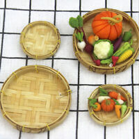 1Pc Cute 1/12 Dollhouse Miniature Bamboo Basket Kitchen Doll Toy Accessories 3C