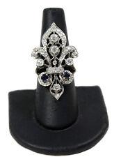 14kt White Gold Fleur De Lis Ring with Diamonds & Sapphires
