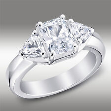 2.50 Ct Radiant Three Stone Engagement Ring Lab Diamond solid 14K White Gold