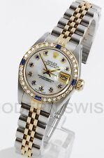 Rolex Ladies Datejust 18K Gold Steel MOP Sapphire Diamond Bezel Jubilee Quickset